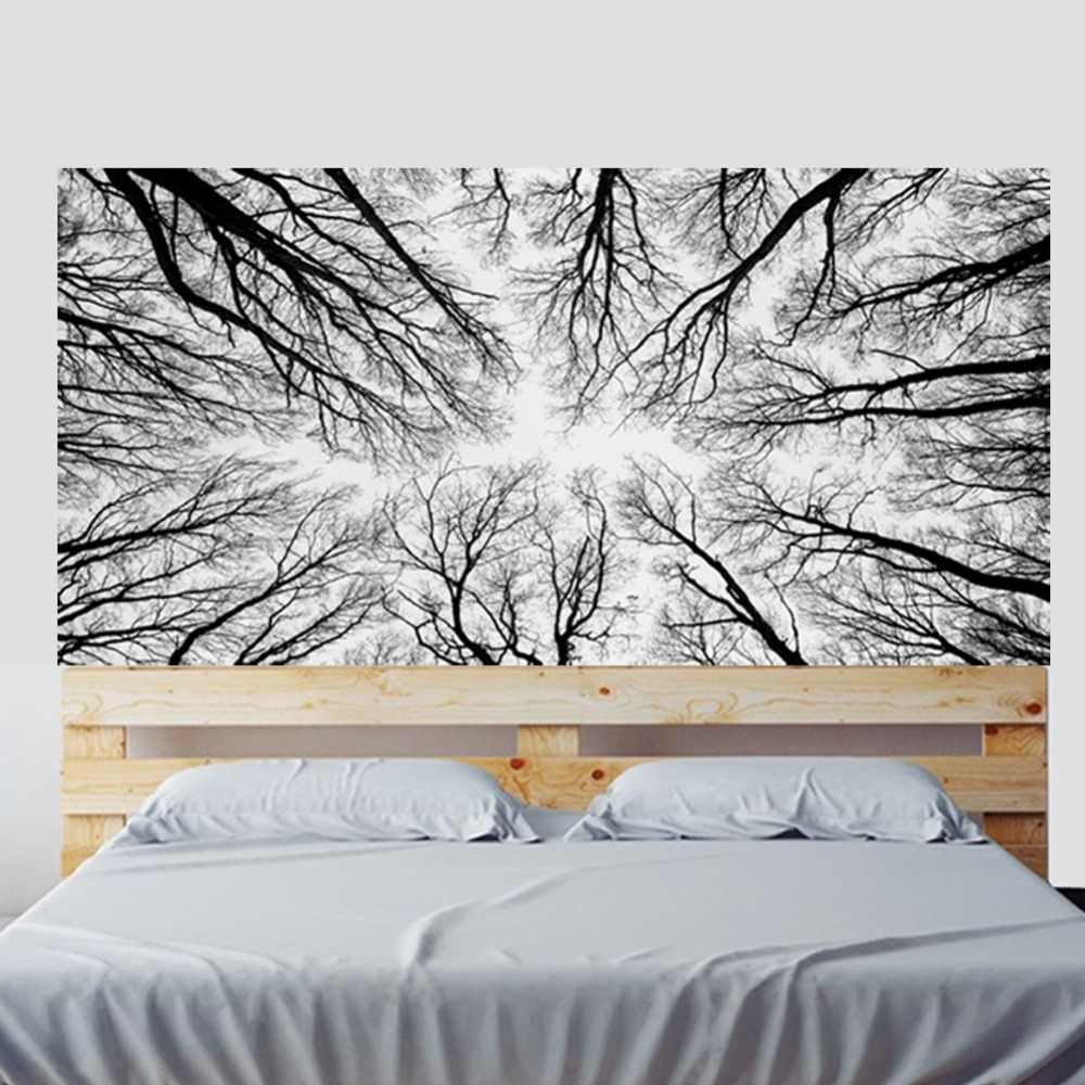 Black White Forests Branches Bed Wall Art Bed Head Wall Decals Home Decoration Stickers Decals Living Room Bedroom Drop Shipping
