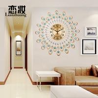Modern Iron Art Diamond Watch European Garden Living Room Clock Creative Fashion Personality Quartz Clock Mute