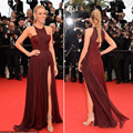2014 Cannes Gossip Girl Blake Lively Halter Floor Length High Slit Sexy Celebrity Dresses