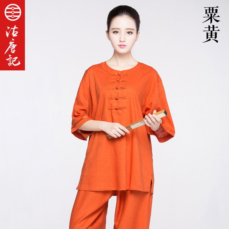 Flax Half  Sleeve Tai Chi  Clothes Short Sleeve Wu Shu Uniform