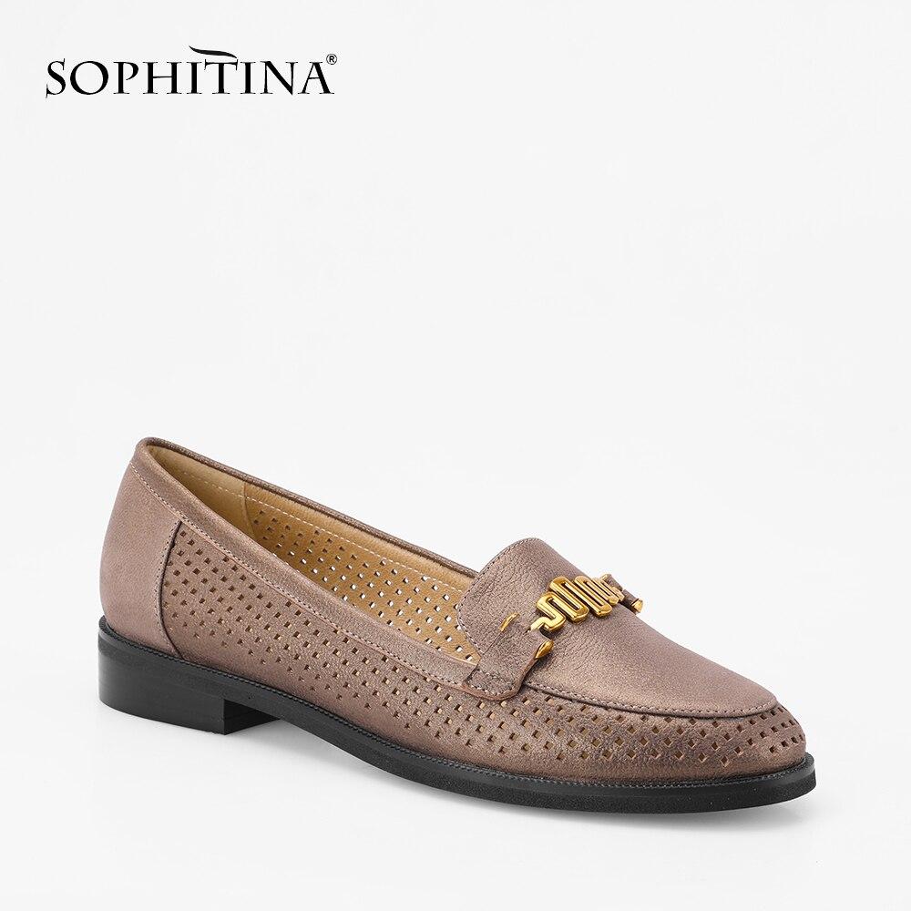 SOPHITINA Cow Leather Flats Mesh Genuine Leather Elegant Round Toe Lady Shoes Metal Decoration Slip on