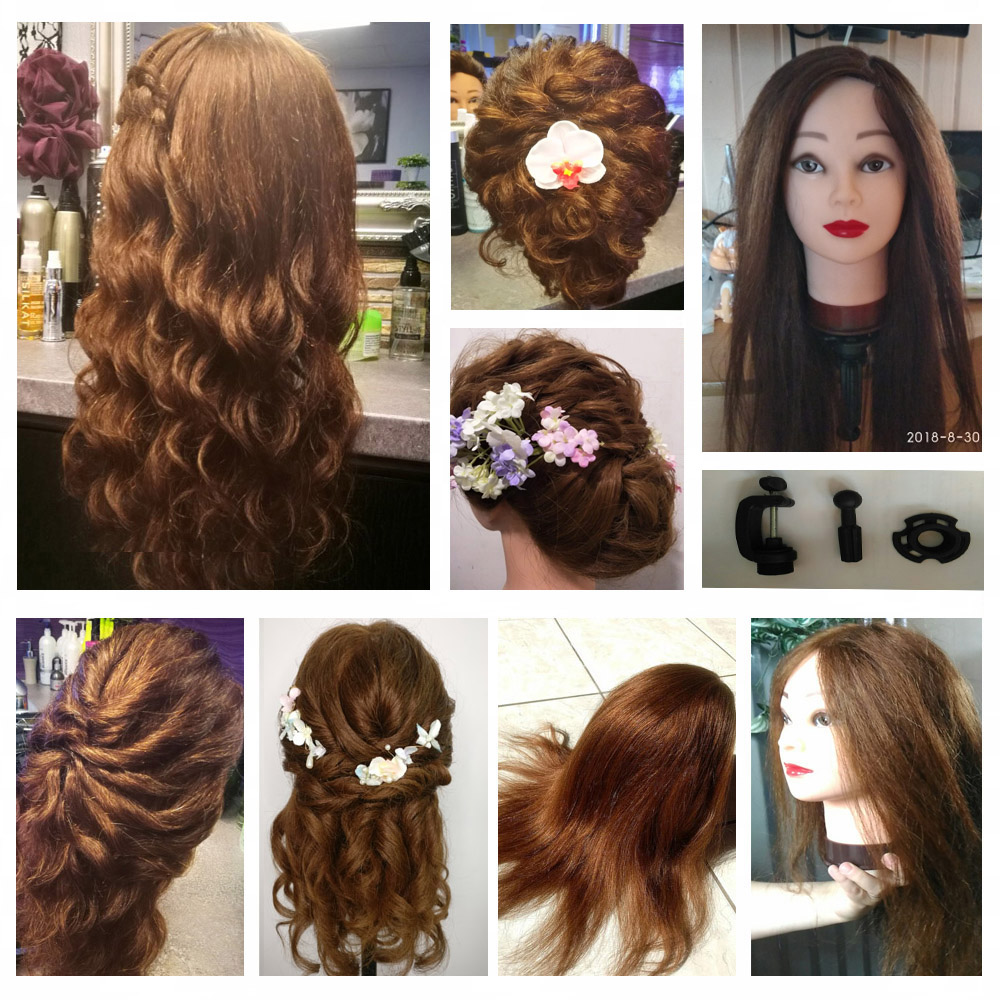 Image 3 - 100% Real Natural Human Hair Training Mannequin Head With Stand  Salon Professional Hairdressing Practice Manequi Head For  Barberhairdressing mannequinshuman hair traininghead hairdresser -