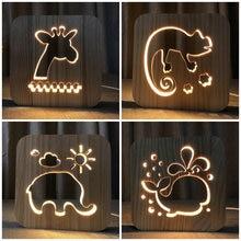 Animal Wooden 3D Night Light Decor Nightlight Elephant Giraffe Chameleon Dolphin USB DIY Customize LED Lighting Gift IY801101