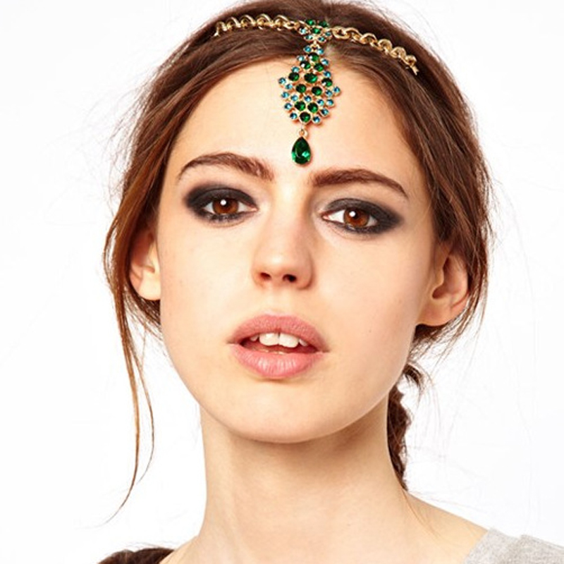 Bride Hair Pin Gold Crystal Rhinestone Turquoise Head Chain Wedding Headpiece Indian Forehead Jewelry For Women Top