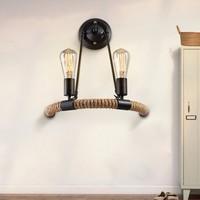 Brief American Vintage Hemp Rope Wall Lamps Loft Wall Lights For Art Gallery/ Bar/ Restaurant