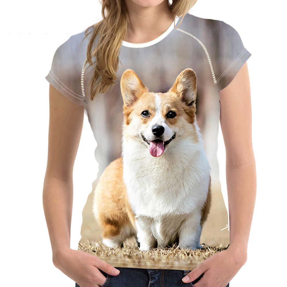 NoisyDesigns Camiseta Animais Cão Impressão Mulheres O Pescoço Tops Adolescentes Corgi Padrão Manga Curta Camisetas para Meninas Kawaii Tee Camisa
