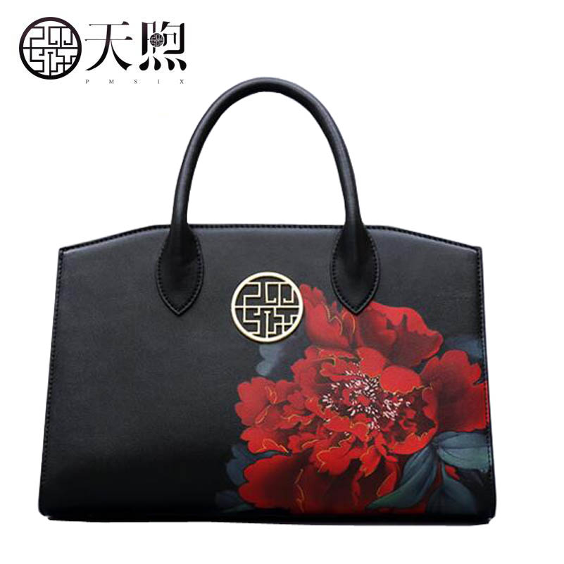 Hot new fashion Peony printing luxury handbags women bags designer Leather women tote handbags shoulder Bags yanxi new 2016 new hot women patchwork good pu leather tote fashion versatile zipper handbags us dollar designer shoulder bags