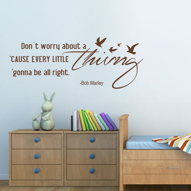 Dont Worry About A Thing Bob Marley Song Lyrics Quote Wall Stickers Home Decor For