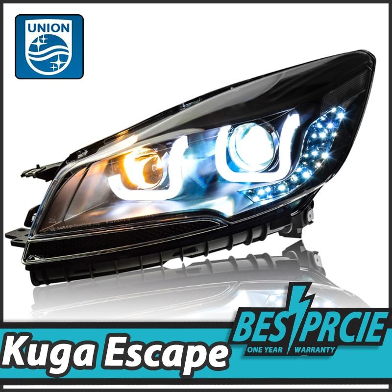 UNION Car Styling for Escape Headlights 2014-2016 New Kuga Angel Eye Headlight DRL Bi Xenon Lens High Low Beam Parking Fog Lamp  car styling led head lamp for ford kuga led headlights 2014 taiwan escape angel eye drl h7 hid bi xenon lens low beam