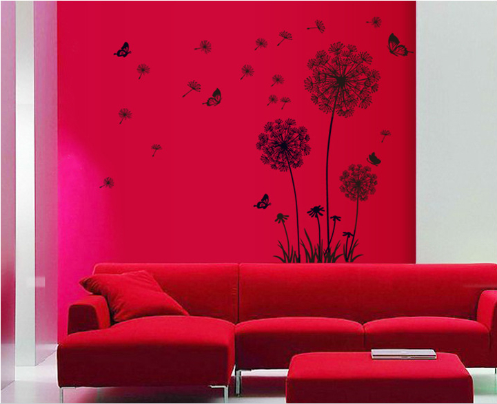 1 x black dandelion wall stickers mural art decal self adhesive