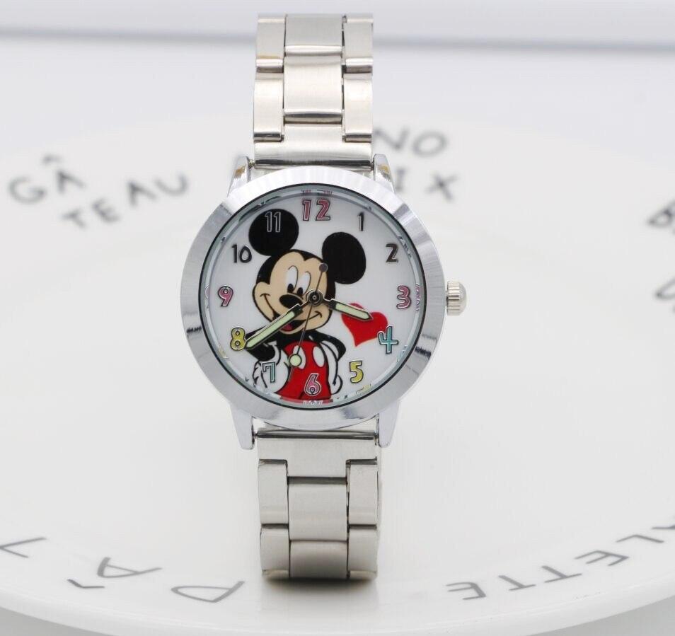 2018 Mickey mouse montre dames en acier inoxydable femmes montres dessin animé souris horloge étudiants enfants sport montres à Quartz