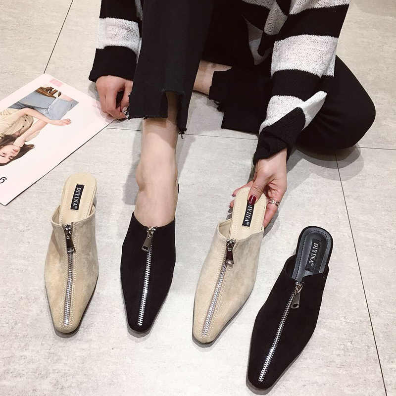 cd82453611d4e crystal heels Slippers Woman closed toe Mules Fashion Slides suede zipper  Shoes flip flops luxury sandalias