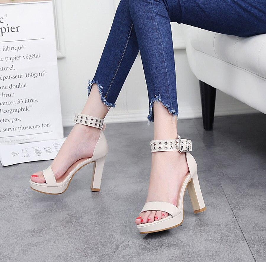 10 รองเท้าสตรีรองเท้าสตรีปั๊มหนังแฟชั่นผ้าพันคอโลหะตกแต่งข้อเท้าปั๊มส้นสูง E ส่วนลดครั้งสุดท้าย 12
