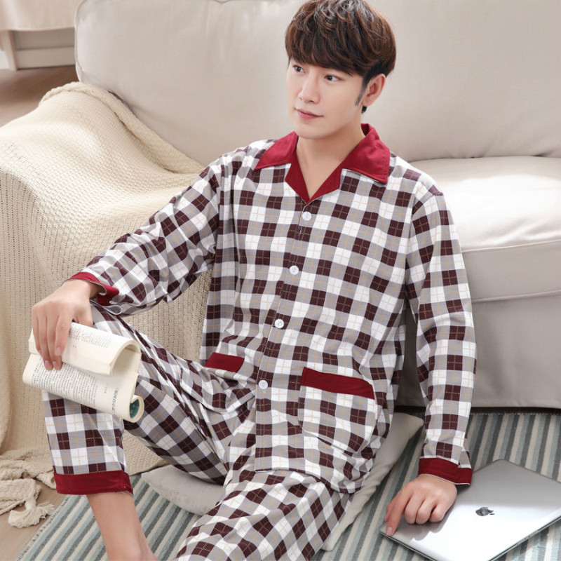 Summer Long Sleeved Mens Pajamas Casual Knitted Cotton Home Suit 85% Cotton Comfortable Breathab Nighty Nightgown Bedgown