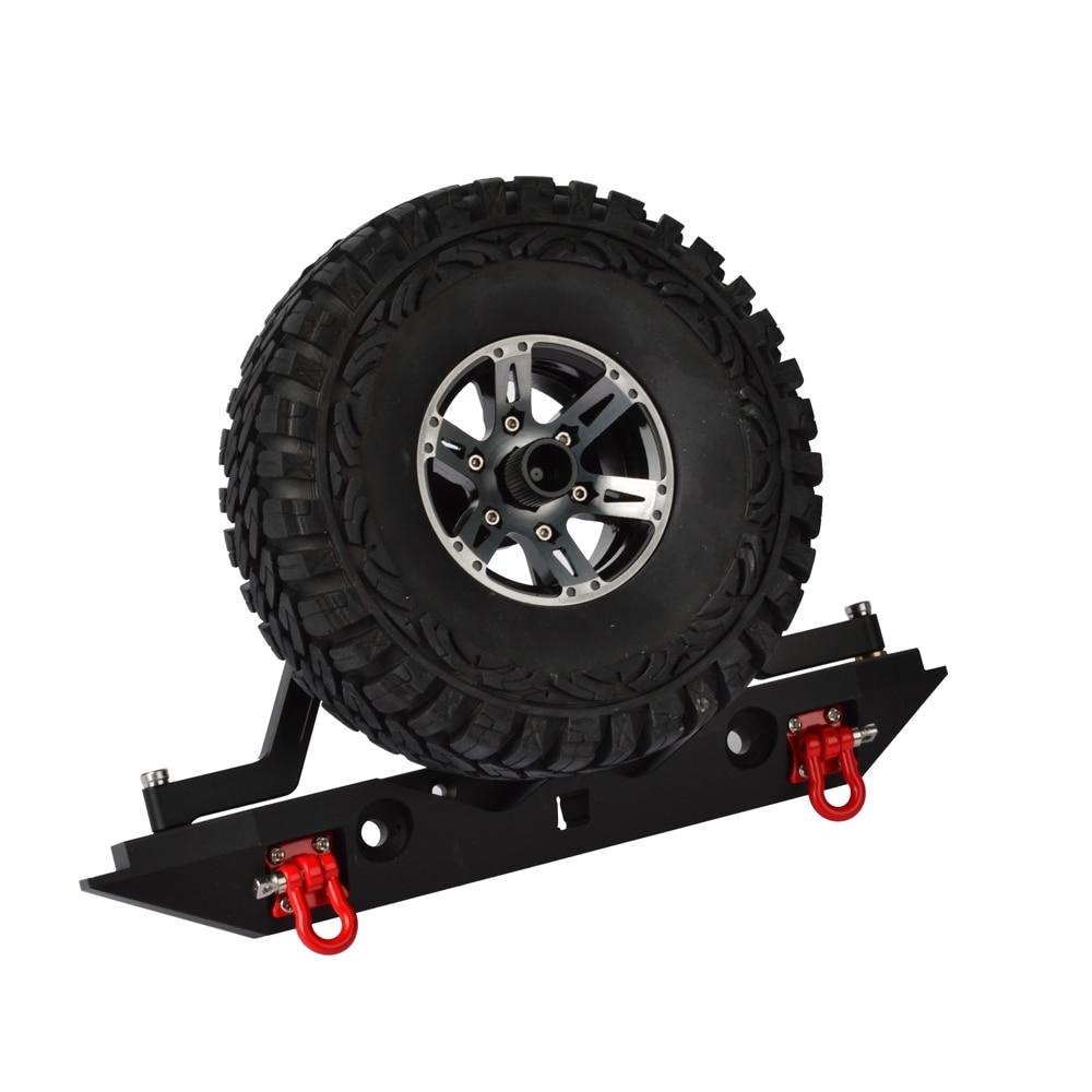 RC metal parachoques trasero y estante del neumático de repuesto con luz para Traxxas TRX-4 TRX4 1/10 RC Crawler Car axial SCX10 90046