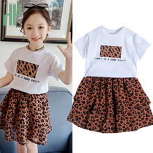 Summer Baby Girls Clothing Set Leopard Kids Short Sleeve Shirt + Cake Skirt Casula Suit Little Boutique Outfits