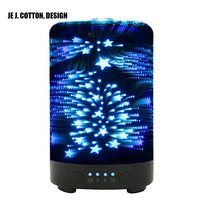 12W 3D Air Humidifier with Night Light Aroma Essential Oil Diffuser Atomizer Ultrasonic Humidifiers Mist Maker Fogger for Home