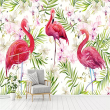 Modern minimalist hand-painted flamingo tropical rainforest personality wallpaper background wall custom mural photo