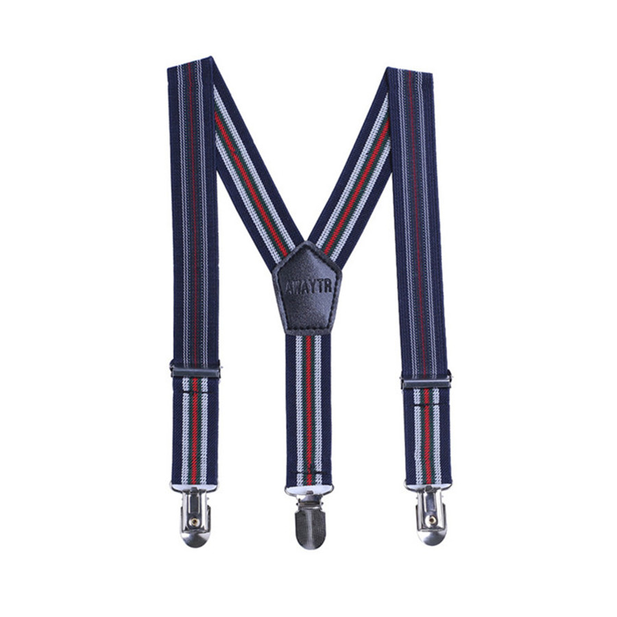 AWAYTR Navy And Beige Striped Suspenders Kids Elastic Suspenders Adjustable Braces Suspenders Shirt Fashion Style