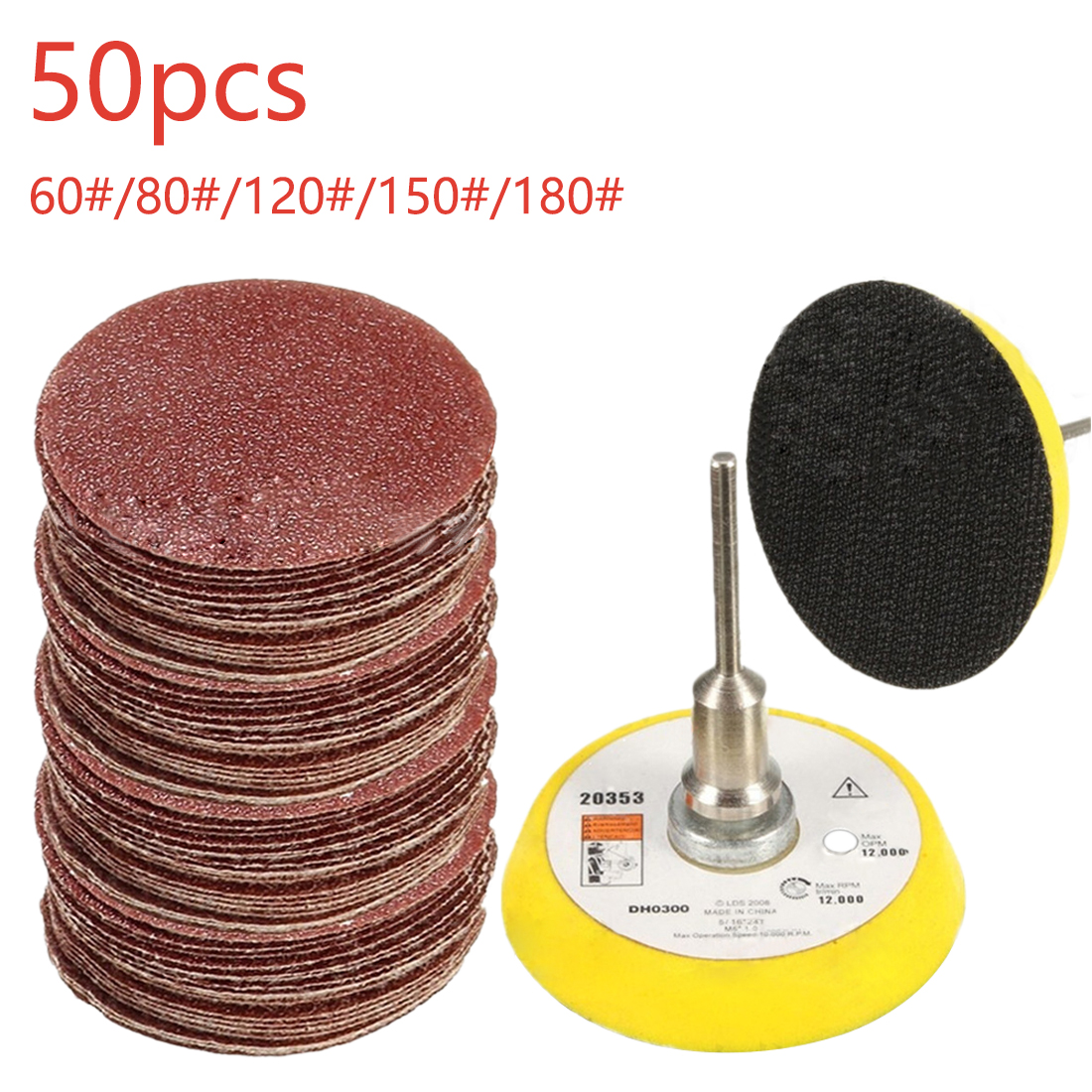 50PCS Sander Disc Sanding Pad Polishing 50mm 60-180 Grit Paper + 1pc Hook Loop Plate Fit Dremel 4000 Electric Grinder Abrasive