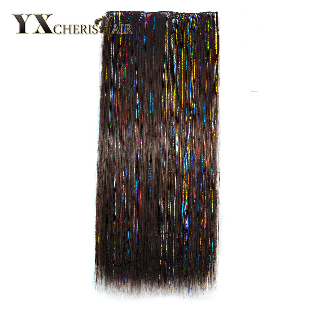 YXCHERISHAIR 60cm Long Colored Straight Hair Womens Clip in Hair Extensions Black Brown  ...