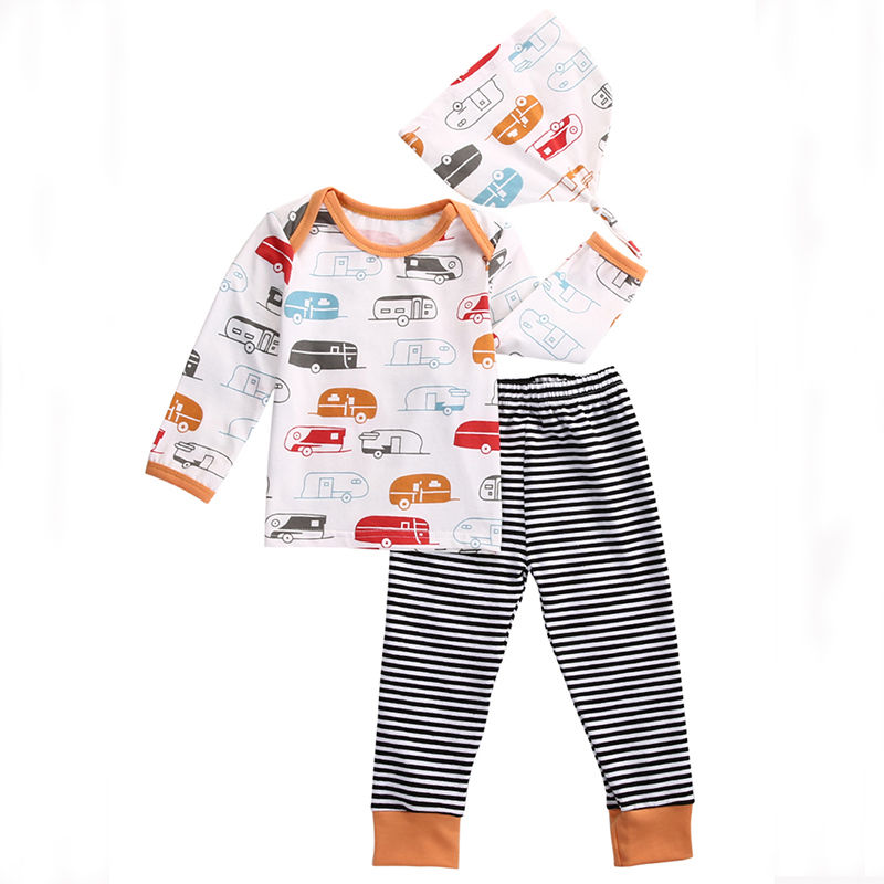 Pudcoco Infant Newborn Baby Boy Girl Clothes Casual Cotton Long Sleeve O-Neck T Shirt +Pants Outfits Set 0-18 Months Helen115