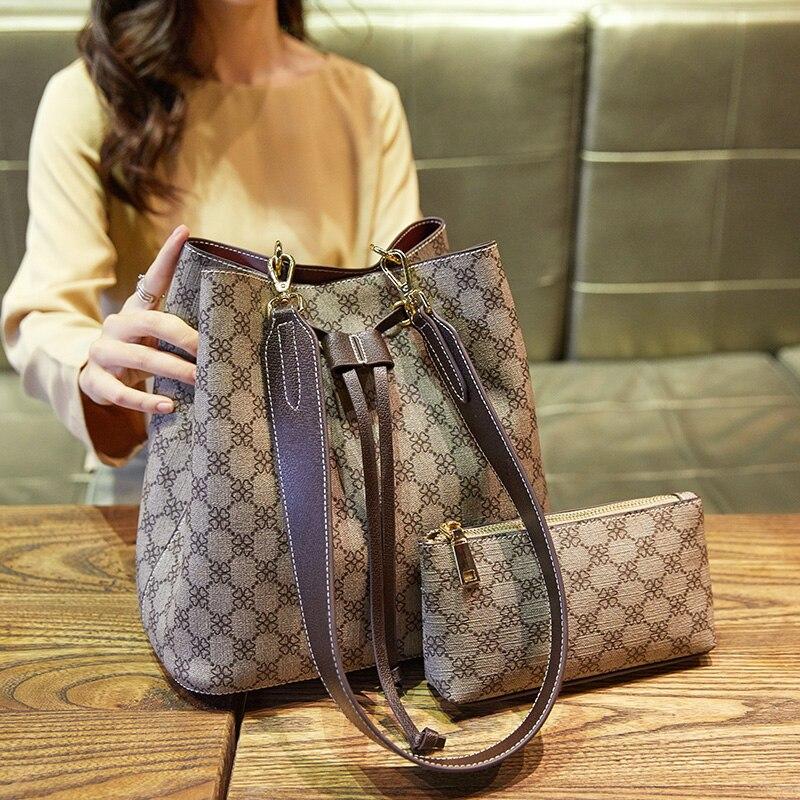 New Korean Version Of The Wild Bucket Bag Temperament Goddess Print Large Capacity Women's Shoulder Messenger Bag