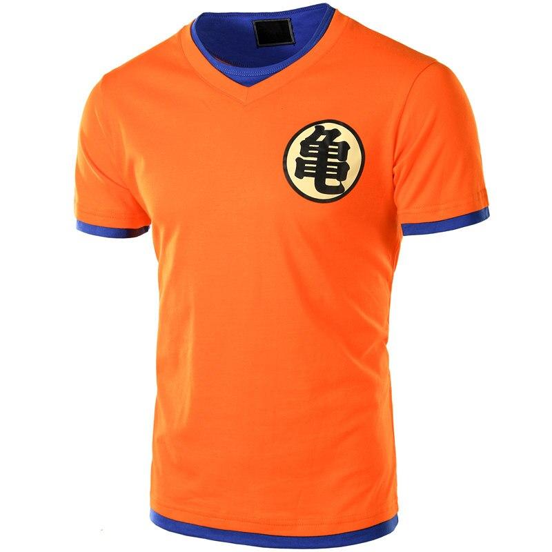 Dragon ball t camisa dos homens de manga curta laranja v pescoço dragon ball z dos homens cosplay camisetas casuais topos ultra instinto mestre goku