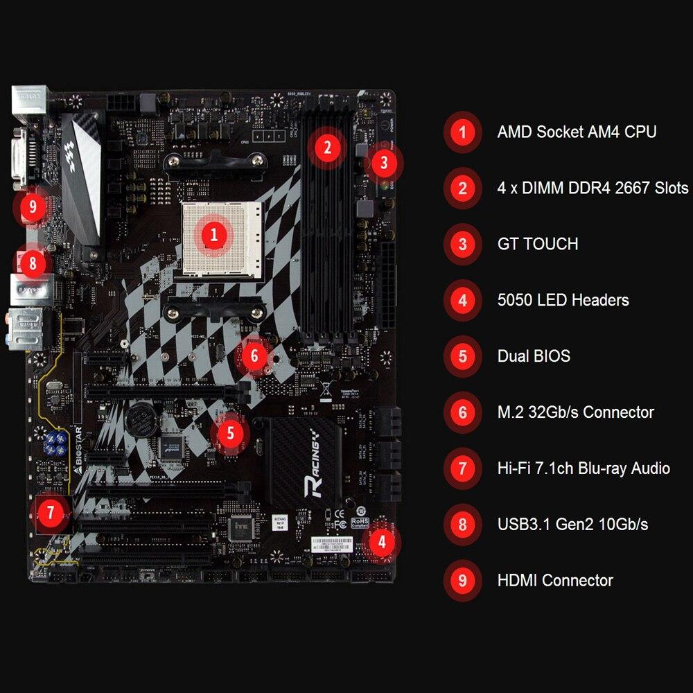 BIOSTAR X370GT5 AM4 X370 Motherboard DDR4 M.2 Desktop Computer Motherboard Support 1600X 1700X for AMD Ryzen USB 3.0 PCI-E 3.0