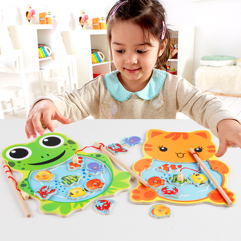 Baby Fishing Toys Cute Magnetic Fishing Game Board Cartoon Frog Cat Jigsaw For Children Puzzle Wooden Toys MG41