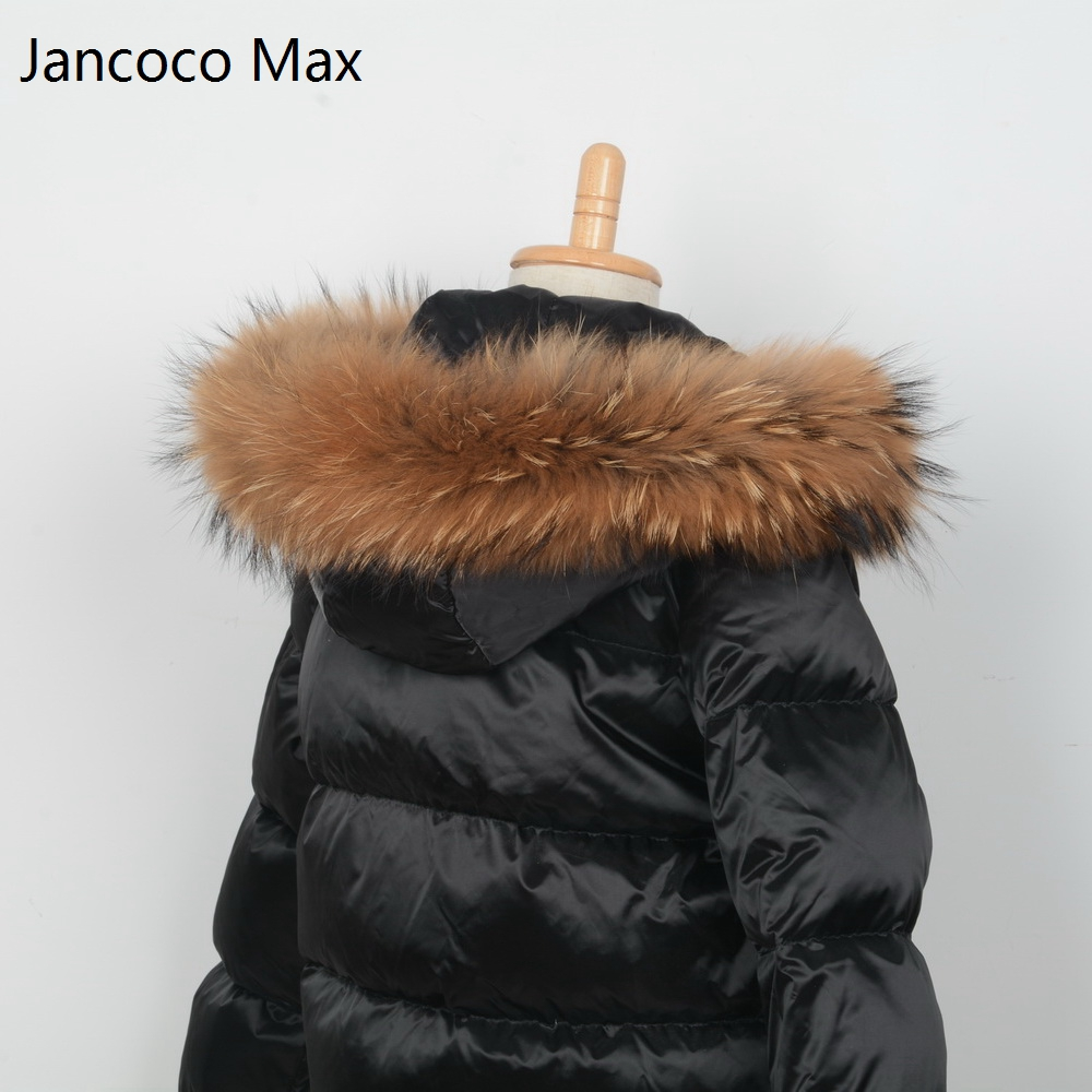 Jancoco Max + Lining 65cm 2018 Real Raccoon Fur Trimming Collar For Kids Adult Coat Hooded Fashion S1690 2017 winter new clothes to overcome the coat of women in the long reed rabbit hair fur fur coat fox raccoon fur collar