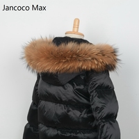 Jancoco Max + Lining 65cm 2018 Real Raccoon Fur Trimming Collar For Kids Adult Coat Hooded Fashion S1690
