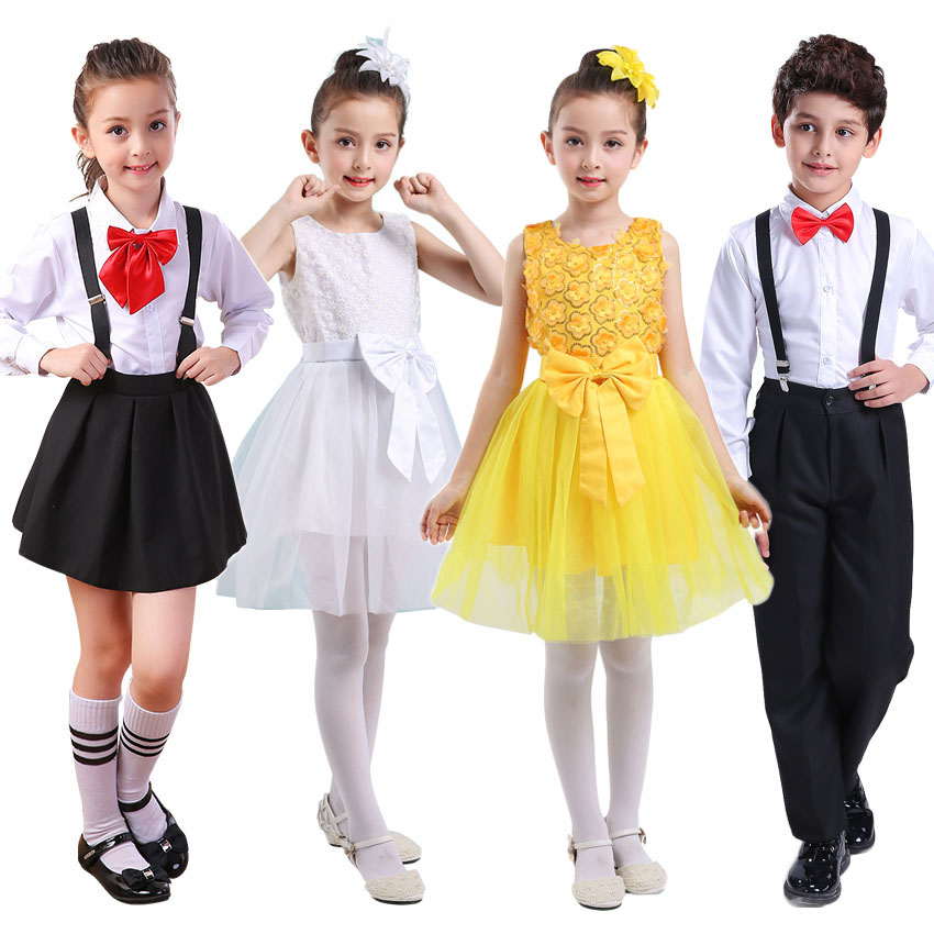 bcb05ec92 Children Girls Middle School Student Uniform Skirt Wedding Tutu Dress Kids  Stage Wear Choir Costumes Performance Clothing Set