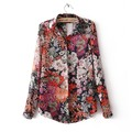 Women Blouses Floral Print Shirt 2016 Fashion Vintage Long Sleeve Chiffon Blouse Shirt Tops Blusas Femininas Plus Size Female