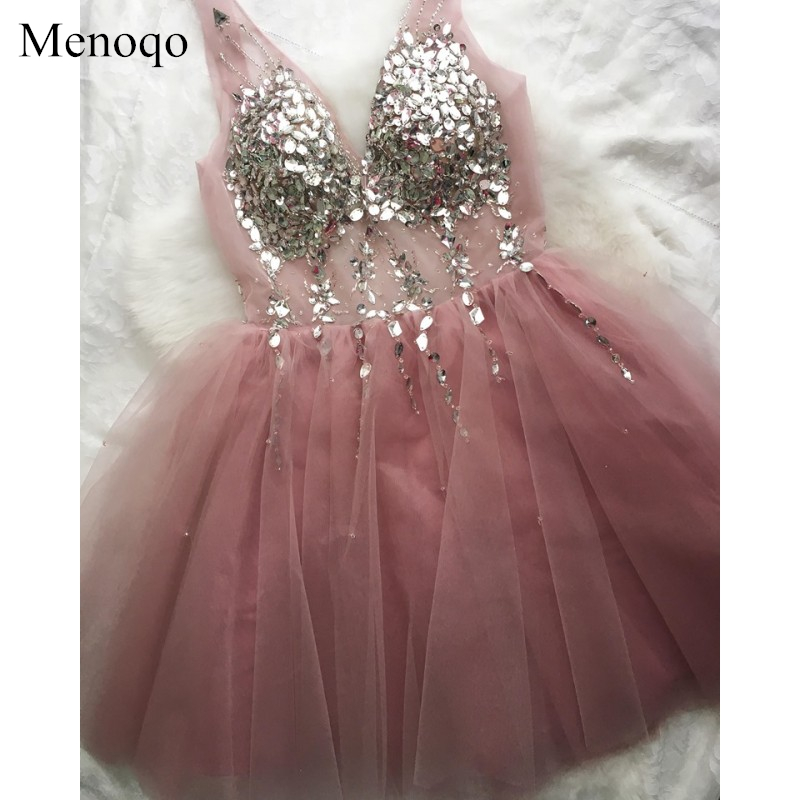 Short   Evening     Dress   Menoqo Hot Sale Sexy V-neck Beaded A-line Party Gown Formal   Dress   Custom Homecoming   Dresses   Robe De Soiree