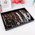 For necklace set leather Large black velvet necklaces display tray accessories rack jewelry box flapless necklace storage