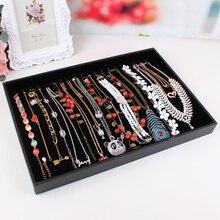Collar de cuero conjunto grande de terciopelo negro collares accesorios bandeja de la exhibición del estante de la joyería sin colgajo almacenamiento de collar