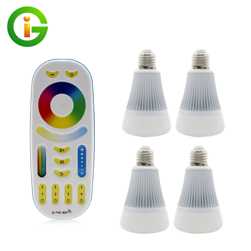ФОТО Mi.Light RGBWW LED Bulb 4pcs 8W Full Color + 1 * RF 2.4G Touch Remote AC86-265V E27 RGB+WW+CW Remote Control LED Light