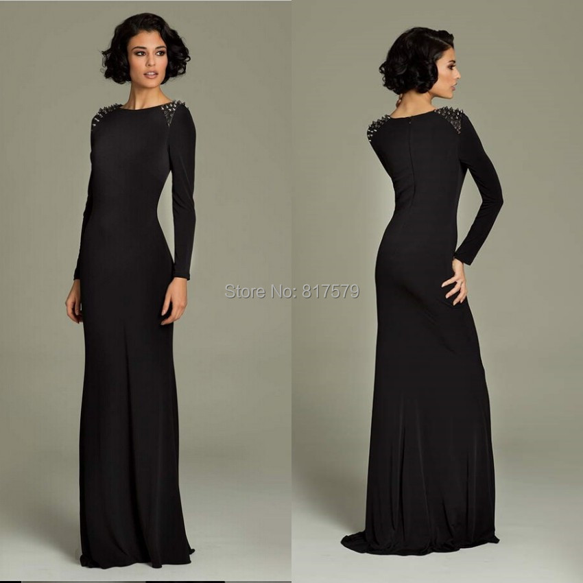 7c2e02c2fdab Charming Batteau Neck Long Sleeve With Beading Floor Length Black Velvet  Evening Dress