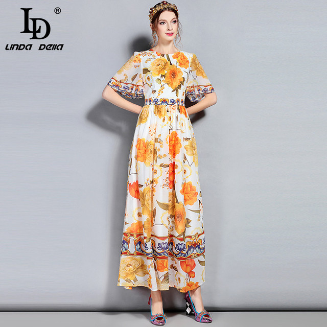 Summer Maxi Dress Flare Sleeve Chiffon Floral Printed Casual Party Elegant Long Dress