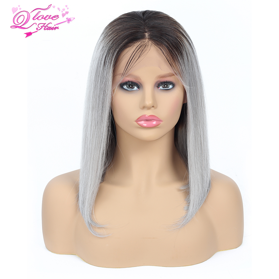 Queen Love Hair Mongolian Short Straight Bob Wig 100% Human Hair 1B 99J #27 Pink Blue Grey Remy Hair 13*4 Lace Front Bob Wig