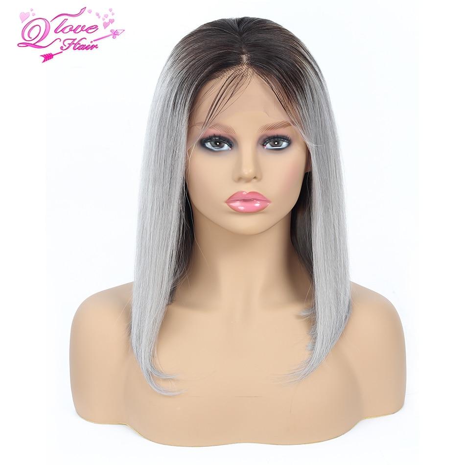 Queen Love Hair Mongolian Short Straight Bob Wig 100% Human Hair 1B 99J #27 Pink Blue Grey Remy Hair 13*4 Lace Front Bob Wig
