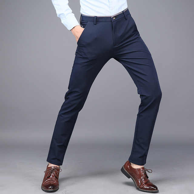 Mens Dress Formal Suit Trousers Stretch Slim Fit Suits Pants for Men Office Pants Men Business Casual Skinny Trousers Black Blue