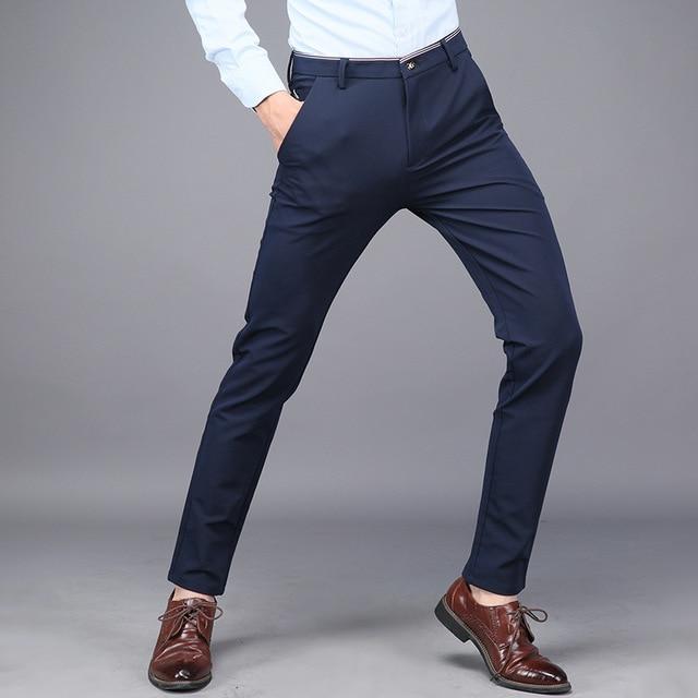 Mens Dress Formal Suit Trousers Stretch Slim Fit Suits Pants For Men Office Pants Men Business Casual Skinny Trousers Black Blue