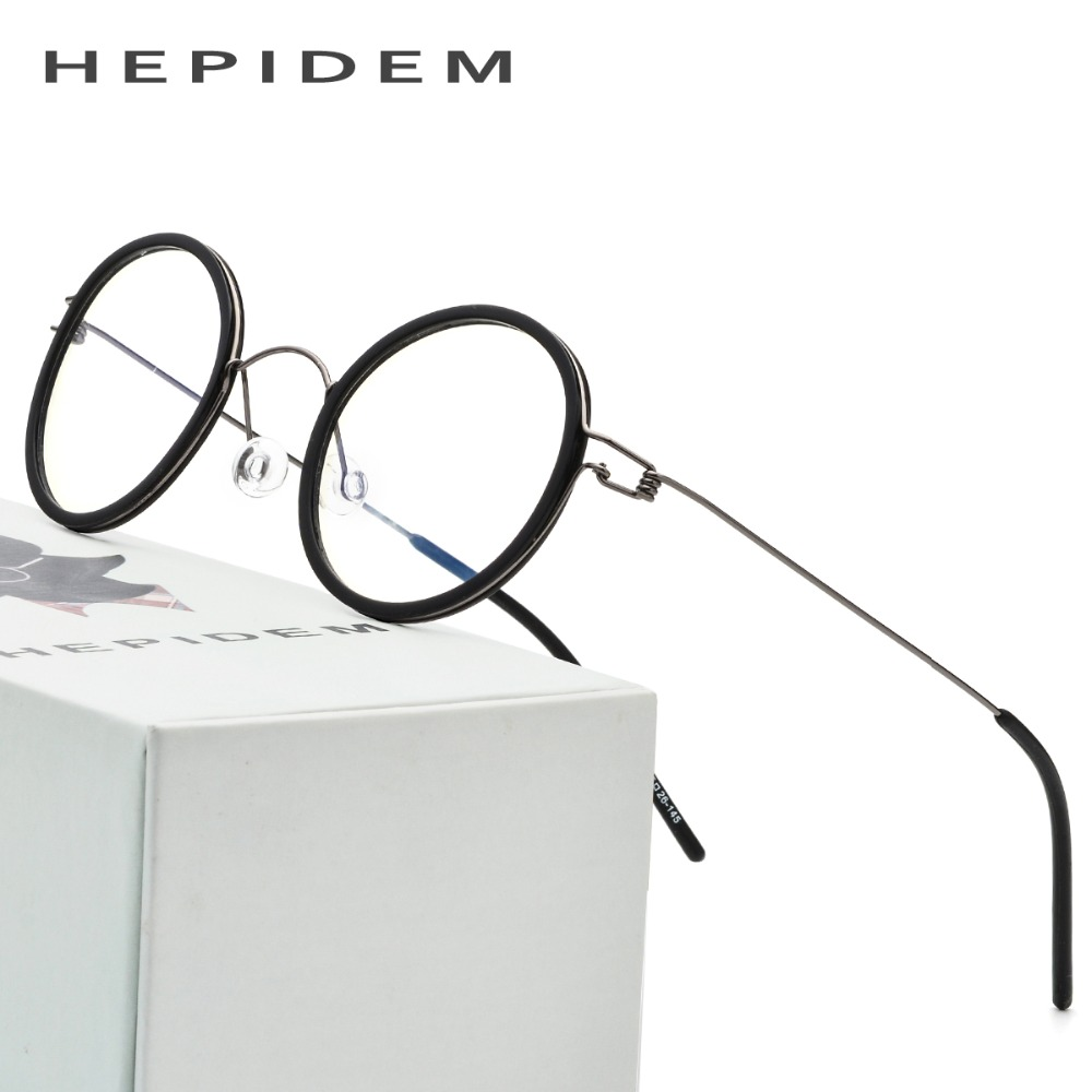 Titanium Optical Glasses Frame Men Prescription Eyeglasses Ultralight Women Round Korean Brand Designer Myopia Screwless Eyewear