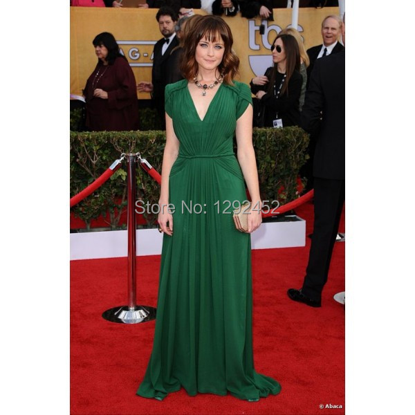 alexis bledel dark green celebrity evening dress new sag awards red carpet v neck short