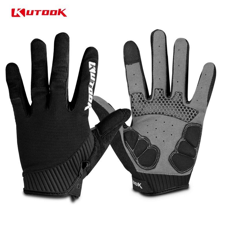 KUTOOK transpirable ciclismo completo dedo guantes MTB antideslizante pantalla táctil Bike guante a prueba de golpes bicicleta de montaña para los hombres mujeres
