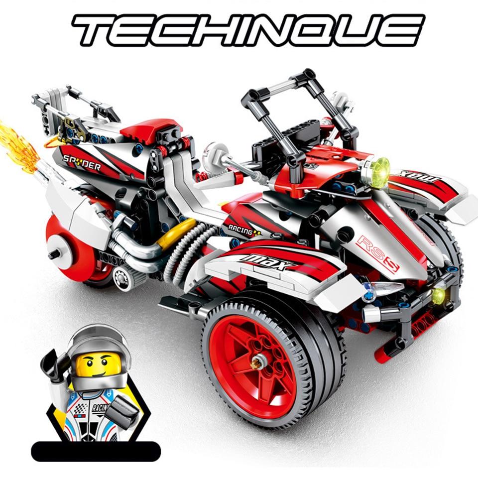 511PCS Technic Assemble Bombardiered Motorcycle DIY Model Building Blocks Toys Educational Model Compatible Legod Technic Bricks