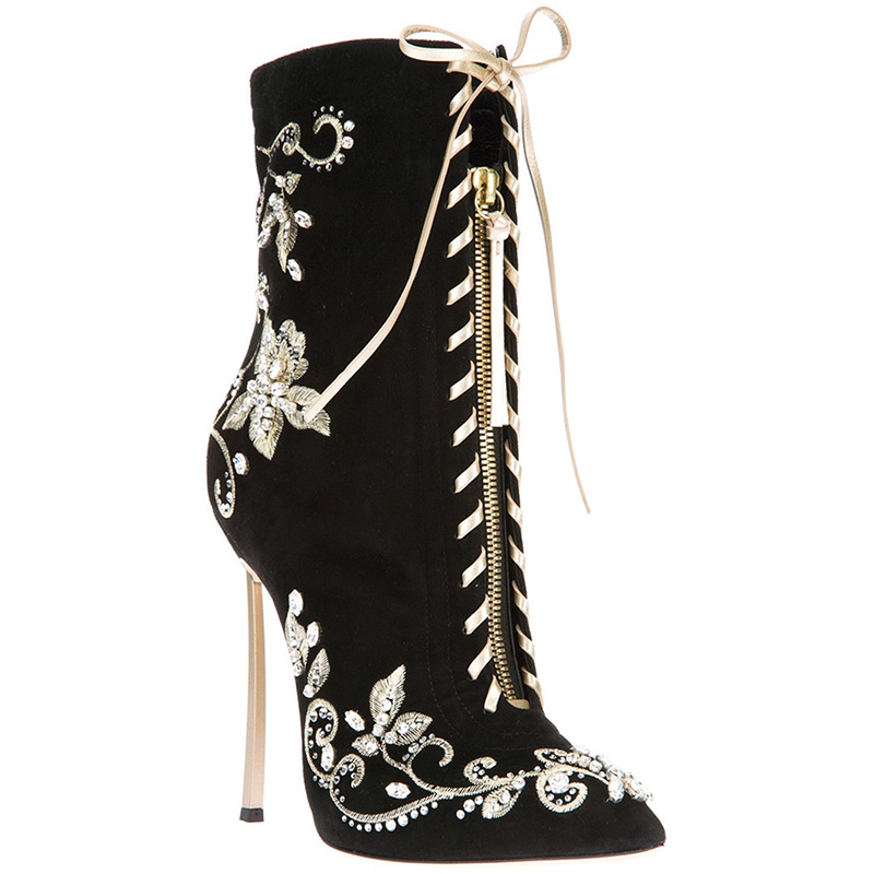 Brand Black Suede Mid Ankle Boots Cross Lace Embroidery Flower Womens Shoes Flock Stiletto High Heels Designer Rhinestone Botas