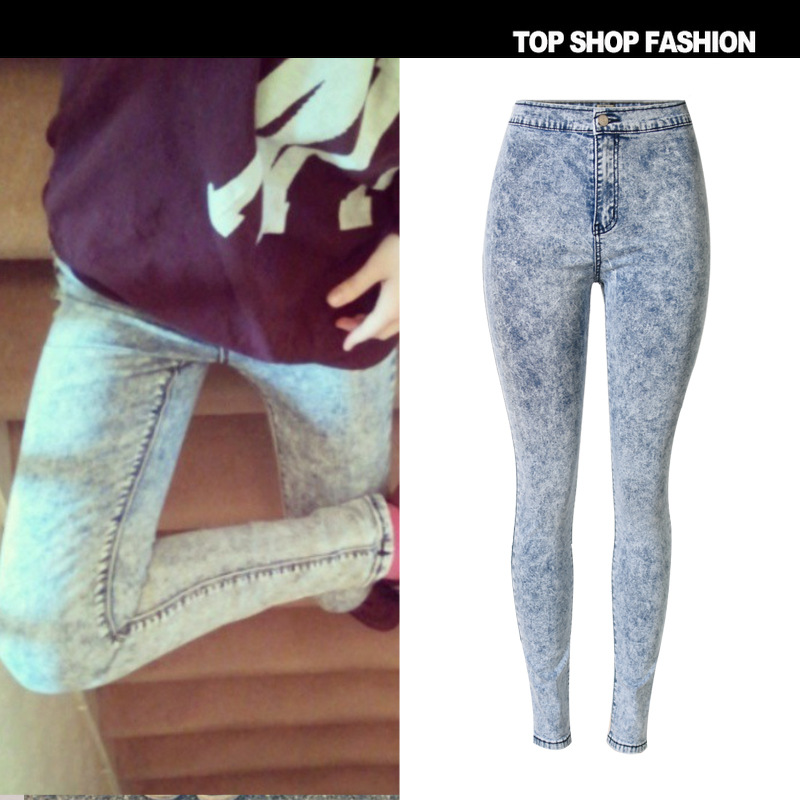 New The fall of Europe slim pencil pants stretch jeans pants female female washing tie dye thin section of code